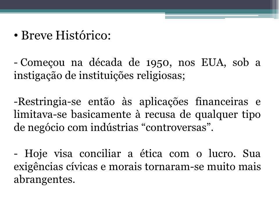 Breve Histórico: - Começou na década de 1950, nos EUA, sob a instigação de instituições religiosas; -Restringia-se então às aplicações financeiras e l