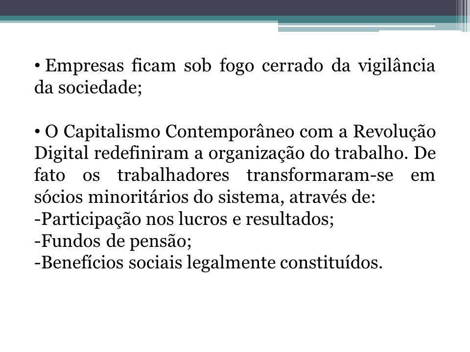 Empresas ficam sob fogo cerrado da vigilância da sociedade; O Capitalismo Contemporâneo com a Revolução Digital redefiniram a organização do trabalho.