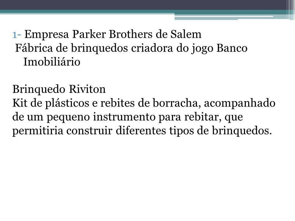 1- Empresa Parker Brothers de Salem Fábrica de brinquedos criadora do jogo Banco Imobiliário Brinquedo Riviton Kit de plásticos e rebites de borracha,