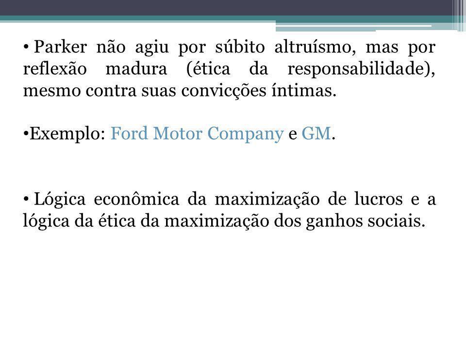 Parker não agiu por súbito altruísmo, mas por reflexão madura (ética da responsabilidade), mesmo contra suas convicções íntimas. Exemplo: Ford Motor C