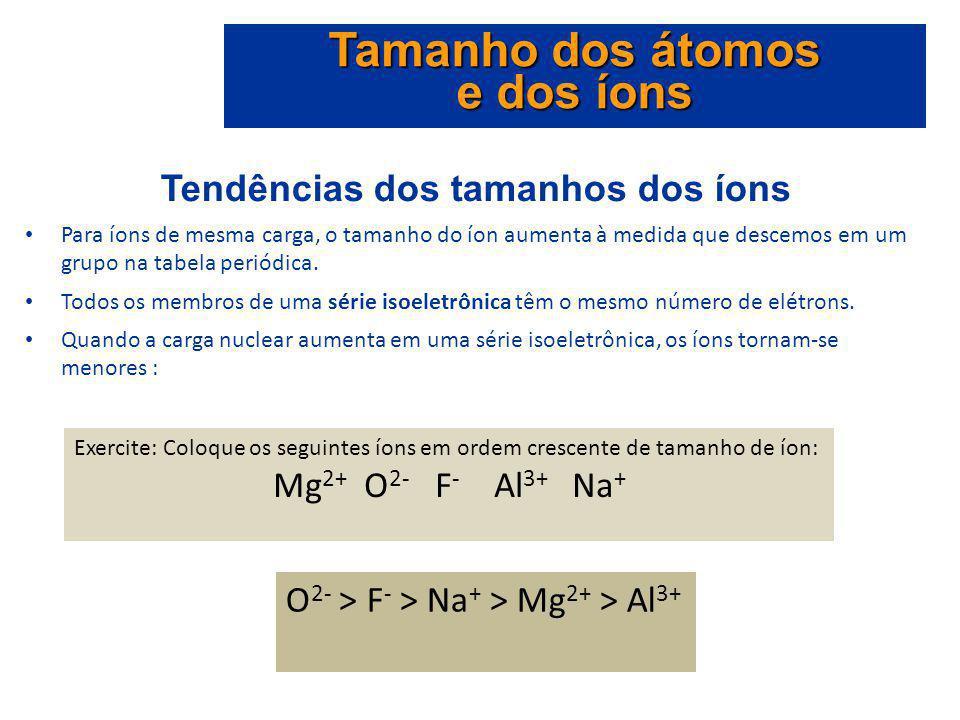 Tendências dos tamanhos dos íons Para íons de mesma carga, o tamanho do íon aumenta à medida que descemos em um grupo na tabela periódica. Todos os me