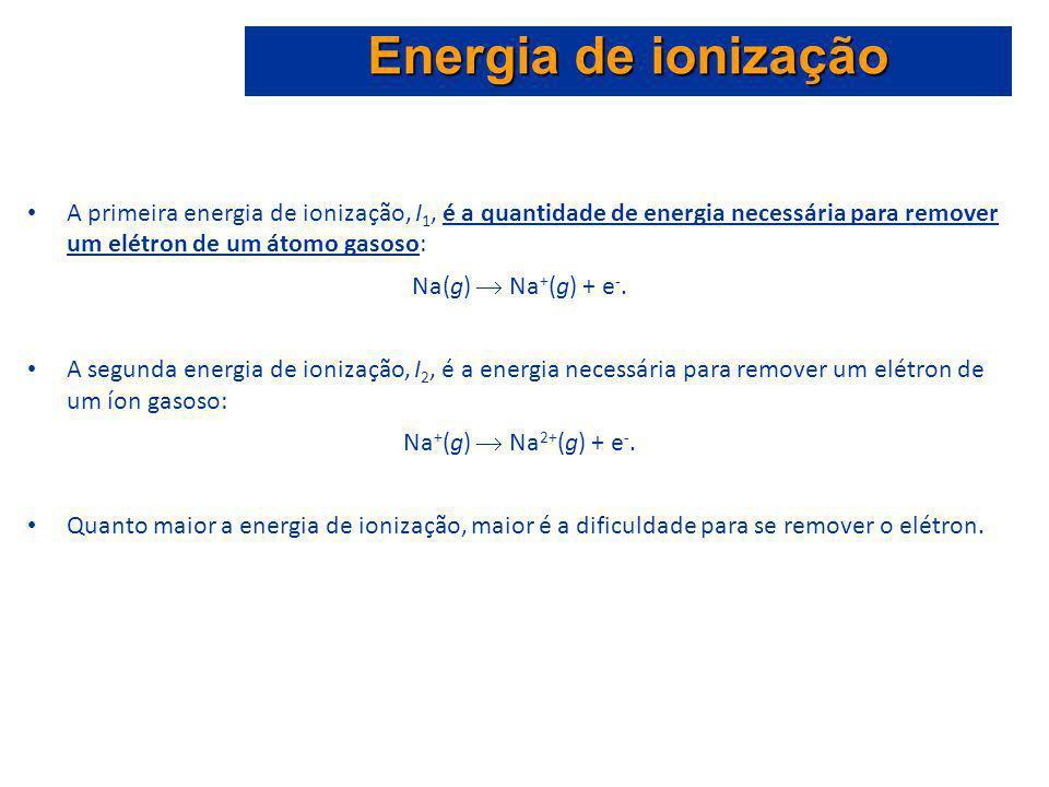 A primeira energia de ionização, I 1, é a quantidade de energia necessária para remover um elétron de um átomo gasoso: Na(g) Na + (g) + e -. A segunda