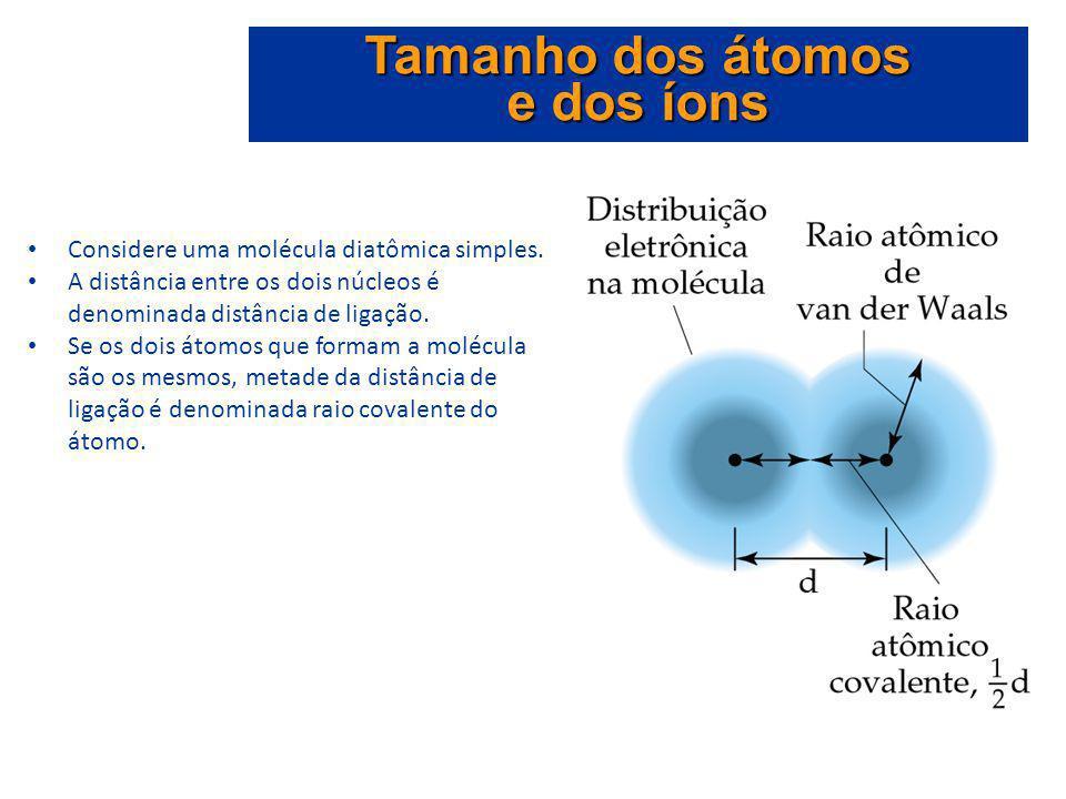 Considere uma molécula diatômica simples. A distância entre os dois núcleos é denominada distância de ligação. Se os dois átomos que formam a molécula