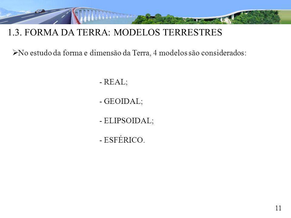 1.3. FORMA DA TERRA: MODELOS TERRESTRES 11 No estudo da forma e dimensão da Terra, 4 modelos são considerados: - REAL; - GEOIDAL; - ELIPSOIDAL; - ESFÉ