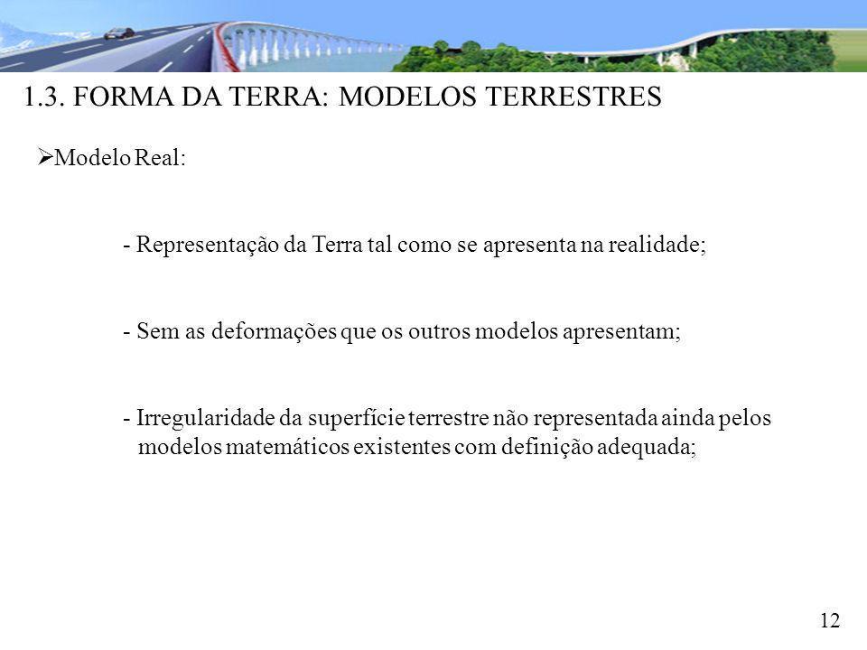 1.3. FORMA DA TERRA: MODELOS TERRESTRES 12 Modelo Real: - Representação da Terra tal como se apresenta na realidade; - Sem as deformações que os outro