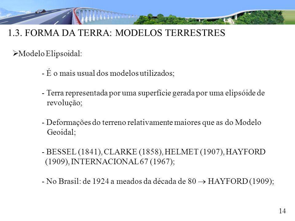 1.3. FORMA DA TERRA: MODELOS TERRESTRES 14 Modelo Elipsoidal: - É o mais usual dos modelos utilizados; - Terra representada por uma superfície gerada
