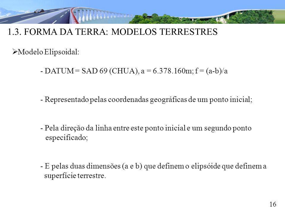 1.3. FORMA DA TERRA: MODELOS TERRESTRES 16 Modelo Elipsoidal: - DATUM = SAD 69 (CHUA), a = 6.378.160m; f = (a-b)/a - Representado pelas coordenadas ge