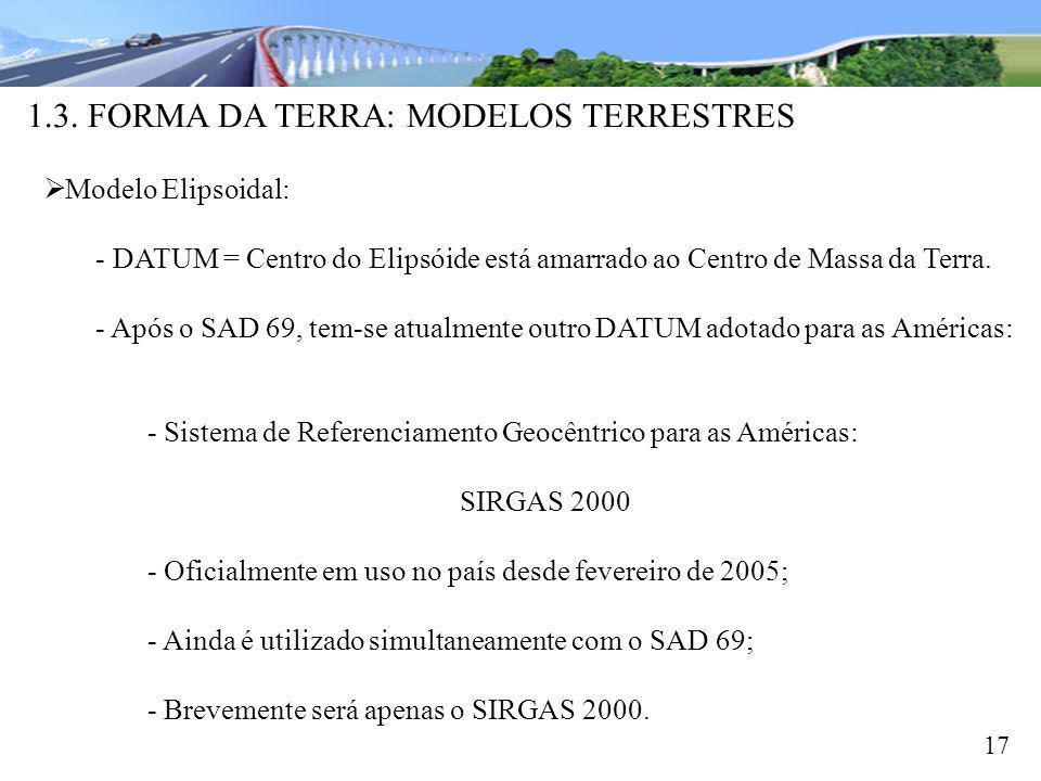 1.3. FORMA DA TERRA: MODELOS TERRESTRES 17 Modelo Elipsoidal: - DATUM = Centro do Elipsóide está amarrado ao Centro de Massa da Terra. - Após o SAD 69