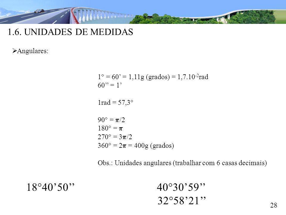 1.6. UNIDADES DE MEDIDAS 28 Angulares: 1 = 60 = 1,11g (grados) = 1,7.10 -2 rad 60 = 1 1rad = 57,3 90 = /2 180 = 270 = 3 /2 360 = 2 = 400g (grados) Obs