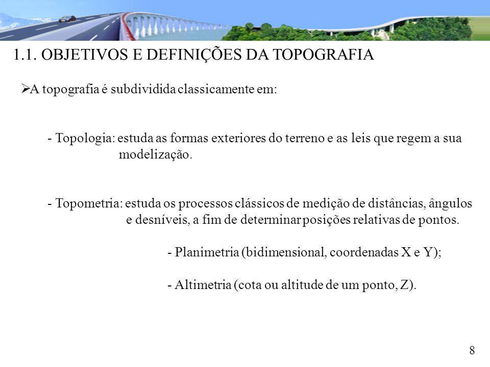 1.1. OBJETIVOS E DEFINIÇÕES DA TOPOGRAFIA 8 A topografia é subdividida classicamente em: - Topologia: estuda as formas exteriores do terreno e as leis