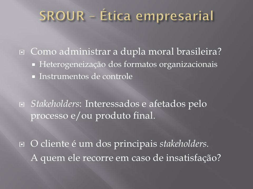 Como administrar a dupla moral brasileira? Heterogeneização dos formatos organizacionais Instrumentos de controle Stakeholders : Interessados e afetad