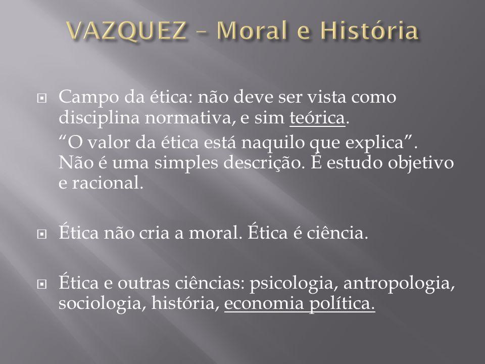 Campo da ética: não deve ser vista como disciplina normativa, e sim teórica. O valor da ética está naquilo que explica. Não é uma simples descrição. É