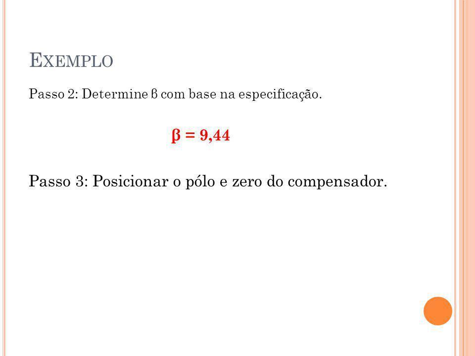 E XEMPLO Passo 2: Determine β com base na especificação.