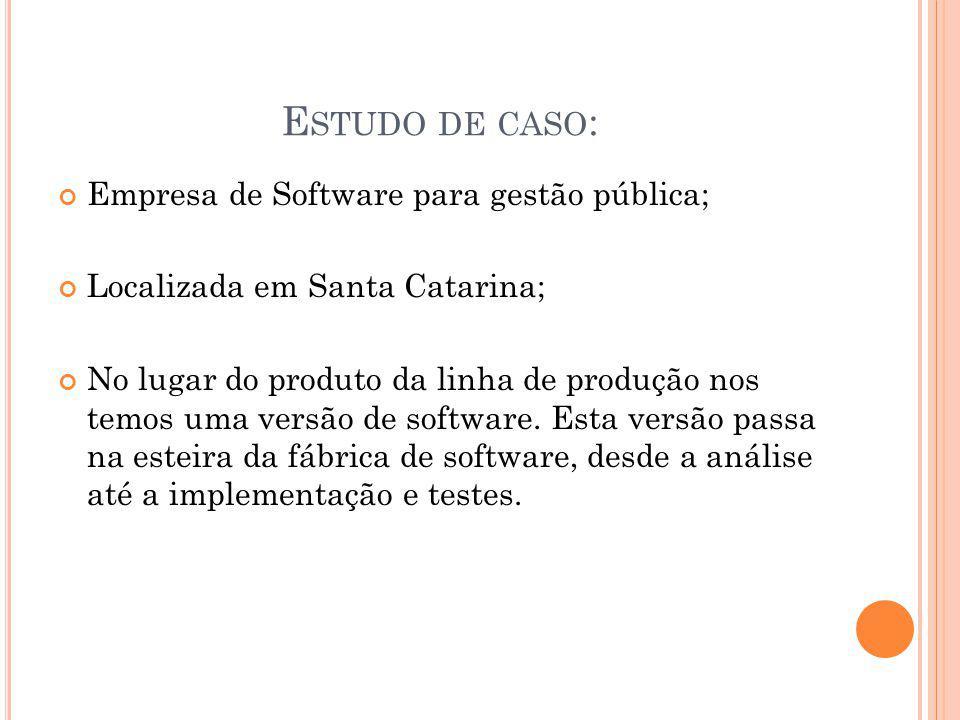 E STUDO DE CASO : Empresa de Software para gestão pública; Localizada em Santa Catarina; No lugar do produto da linha de produção nos temos uma versão