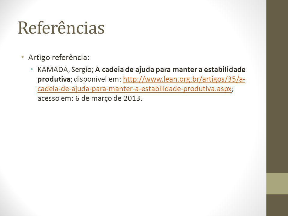Referências Artigo referência: KAMADA, Sergio; A cadeia de ajuda para manter a estabilidade produtiva; disponível em: http://www.lean.org.br/artigos/35/a- cadeia-de-ajuda-para-manter-a-estabilidade-produtiva.aspx; acesso em: 6 de março de 2013.http://www.lean.org.br/artigos/35/a- cadeia-de-ajuda-para-manter-a-estabilidade-produtiva.aspx