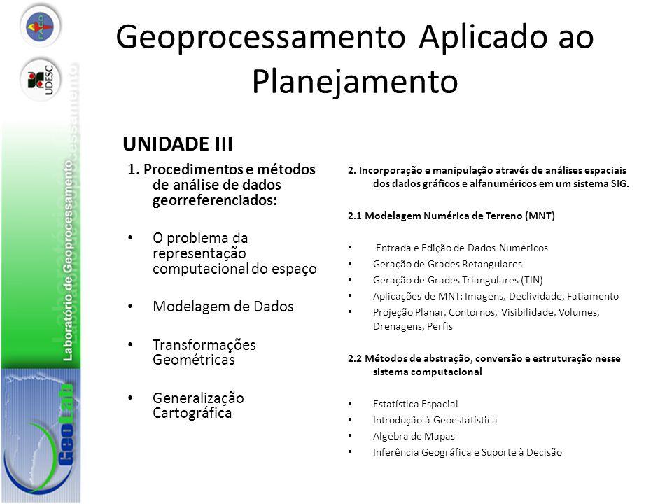 Geoprocessamento Aplicado ao Planejamento UNIDADE III 1. Procedimentos e métodos de análise de dados georreferenciados: O problema da representação co
