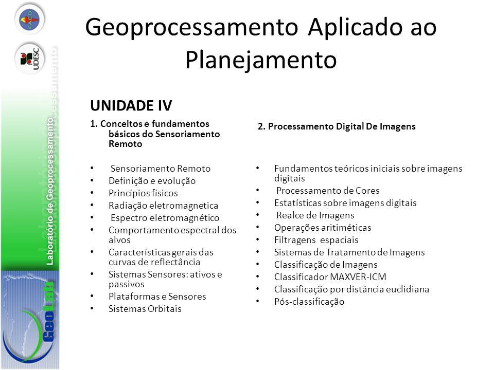 Geoprocessamento Aplicado ao Planejamento UNIDADE IV 1. Conceitos e fundamentos básicos do Sensoriamento Remoto Sensoriamento Remoto Definição e evolu