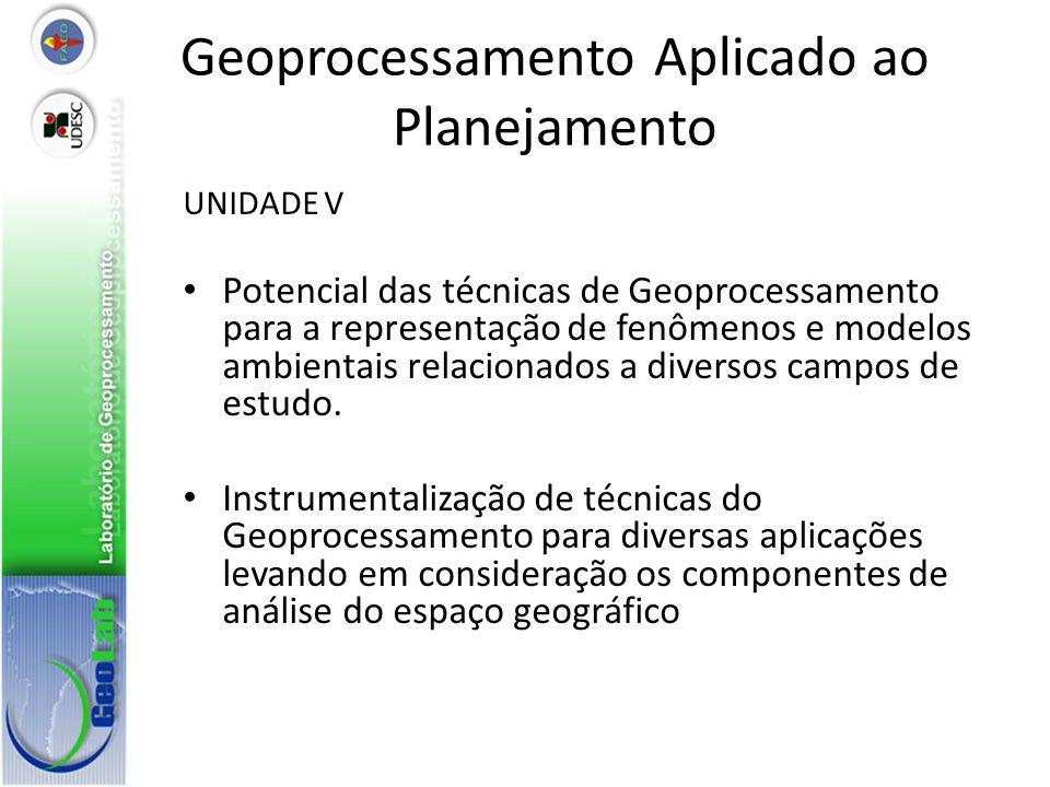 Geoprocessamento Aplicado ao Planejamento UNIDADE V Potencial das técnicas de Geoprocessamento para a representação de fenômenos e modelos ambientais relacionados a diversos campos de estudo.
