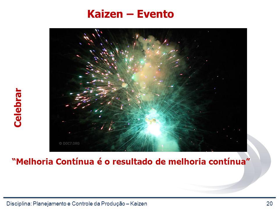 19 Kaizen – Evento Estabelecer Padrão Disciplina: Planejamento e Controle da Produção – Kaizen