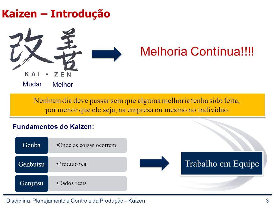 Kaizen – Resultados Quantitativo Célula de Produção Fluxo Contínuo Planejado Fluxos Erráticos se realizados Fluxo efetivamente realizado CP-02 alvenarias periféricas Ganho do pedreiro (R$)/mês R$ 651,00R$ 511,85R$ 671,13 Custo dos 22 pavimentos (R$) R$ 104.841,00R$ 137.569,30R$ 102.570,27 CP-03 revestimento de gesso Ganho do gesseiro (R$)/mês R$ 651,00R$ 511,85R$ 666,88 Custo dos 22 pavimentos (R$) R$ 81.219,60R$ 99.470,80R$ 80.260,04 CP-04 contra piso Ganho do pedreiro (R$)/mês R$ 651,00R$ 511,85 Custo dos 22 pavimentos (R$) R$ 12.846,00R$ 21.345,06 CP-05 fachada Ganho do pedreiro (R$)/mês R$ 903,00R$ 574,64R$ 830,76 Custo dos 22 pavimentos (R$) R$ 119.202,93R$ 148.730,89R$ 131.529,94 CP-05.1 fachada interna Ganho do pedreiro (R$)/mês R$ 693,00R$ 539,00R$ 586,03 Custo dos 22 pavimentos (R$) R$ 25.708,90R$ 28.658,30R$ 27.211,74 CP-06 cerâmica de piso Ganho do pedreiro (R$)/mês R$ 693,00R$ 519,75R$ 831,60 Custo dos 22 pavimentos (R$) R$ 26.220,48R$ 30.692,64R$ 29.798,40 Custo total para os 22 pavimentos (R$) R$ 370.038,91R$ 466.466,99R$ 392.715,50 Fonte: Lean Summit 2006 23Disciplina: Planejamento e Controle da Produção – Kaizen