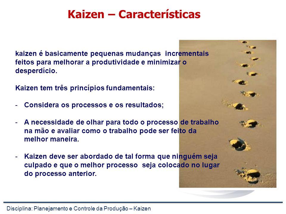 Kaizen – Características kaizen é basicamente pequenas mudanças incrementais feitos para melhorar a produtividade e minimizar o desperdício.