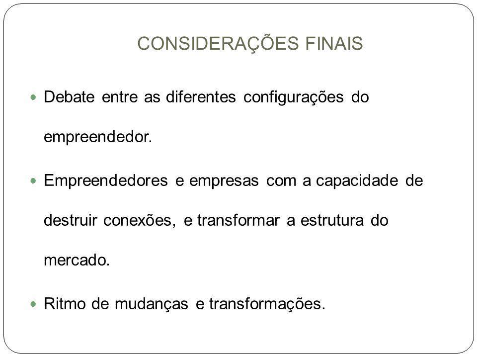 CONSIDERAÇÕES FINAIS Debate entre as diferentes configurações do empreendedor. Empreendedores e empresas com a capacidade de destruir conexões, e tran