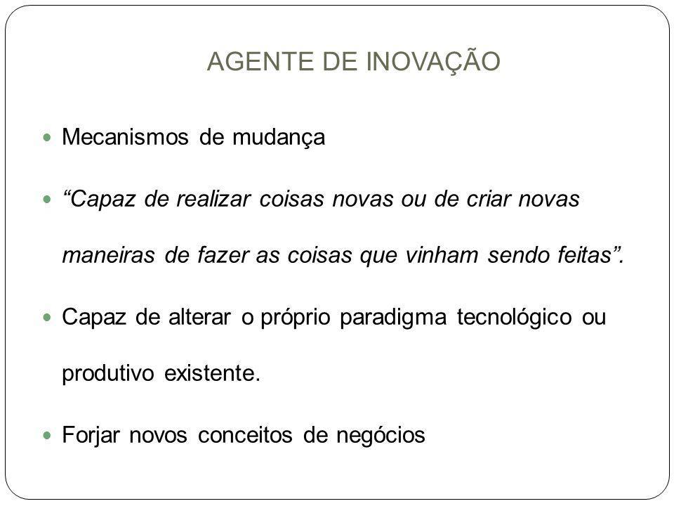 AGENTE DE INOVAÇÃO 5 tipos de inovação: I.Introdução de novos produtos no mercado II.