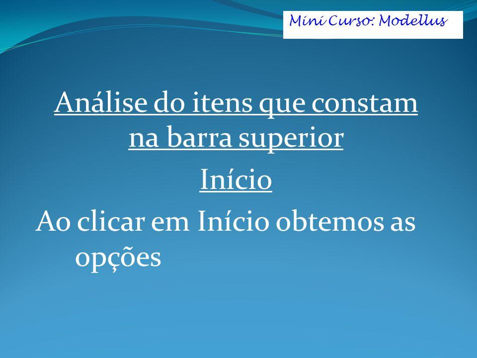 Análise do itens que constam na barra superior Início Ao clicar em Início obtemos as opções Mini Curso: Modellus