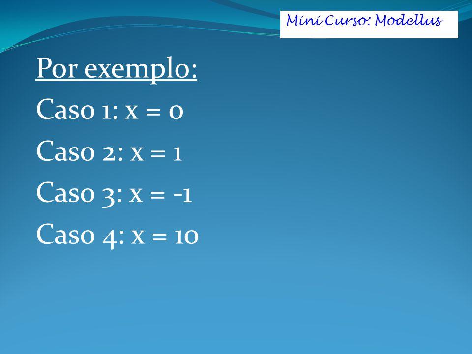 Por exemplo: Caso 1: x = 0 Caso 2: x = 1 Caso 3: x = -1 Caso 4: x = 10 Mini Curso: Modellus