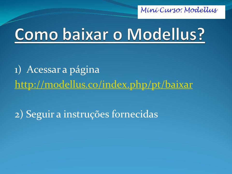 1) Acessar a página http://modellus.co/index.php/pt/baixar 2) Seguir a instruções fornecidas Mini Curso: Modellus