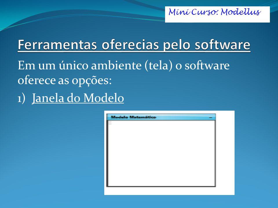 Em um único ambiente (tela) o software oferece as opções: 1) Janela do Modelo Mini Curso: Modellus