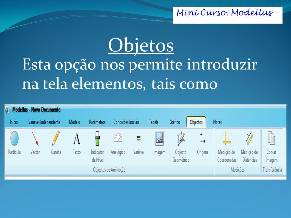 Esta opção nos permite introduzir na tela elementos, tais como Mini Curso: Modellus Objetos