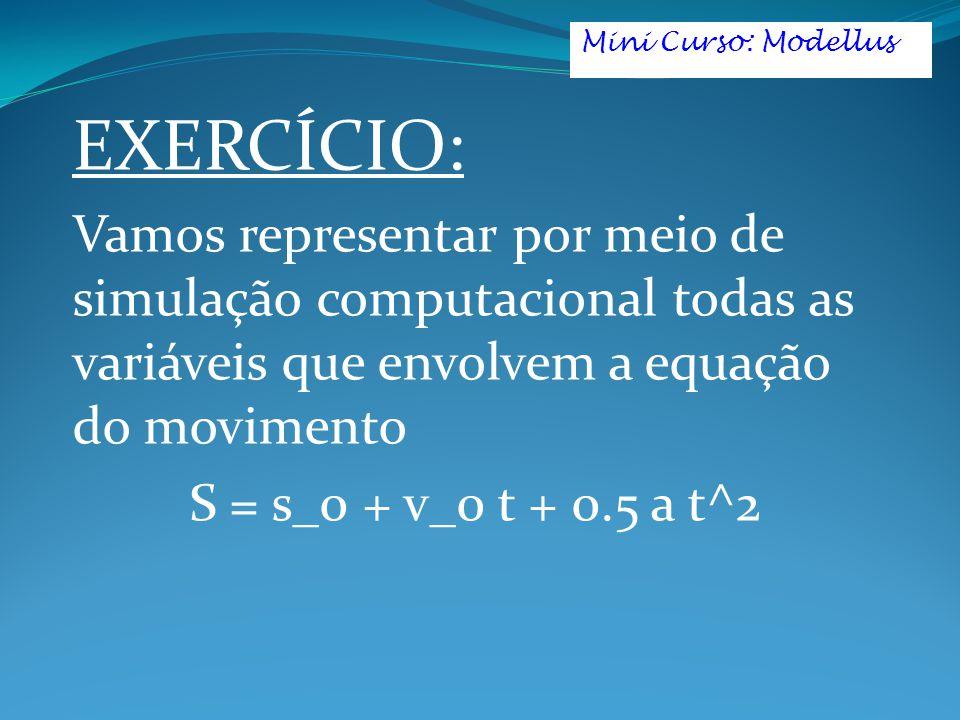 EXERCÍCIO: Vamos representar por meio de simulação computacional todas as variáveis que envolvem a equação do movimento S = s_0 + v_0 t + 0.5 a t^2 Mini Curso: Modellus