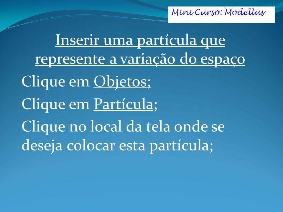 Inserir uma partícula que represente a variação do espaço Clique em Objetos; Clique em Partícula; Clique no local da tela onde se deseja colocar esta partícula; Mini Curso: Modellus