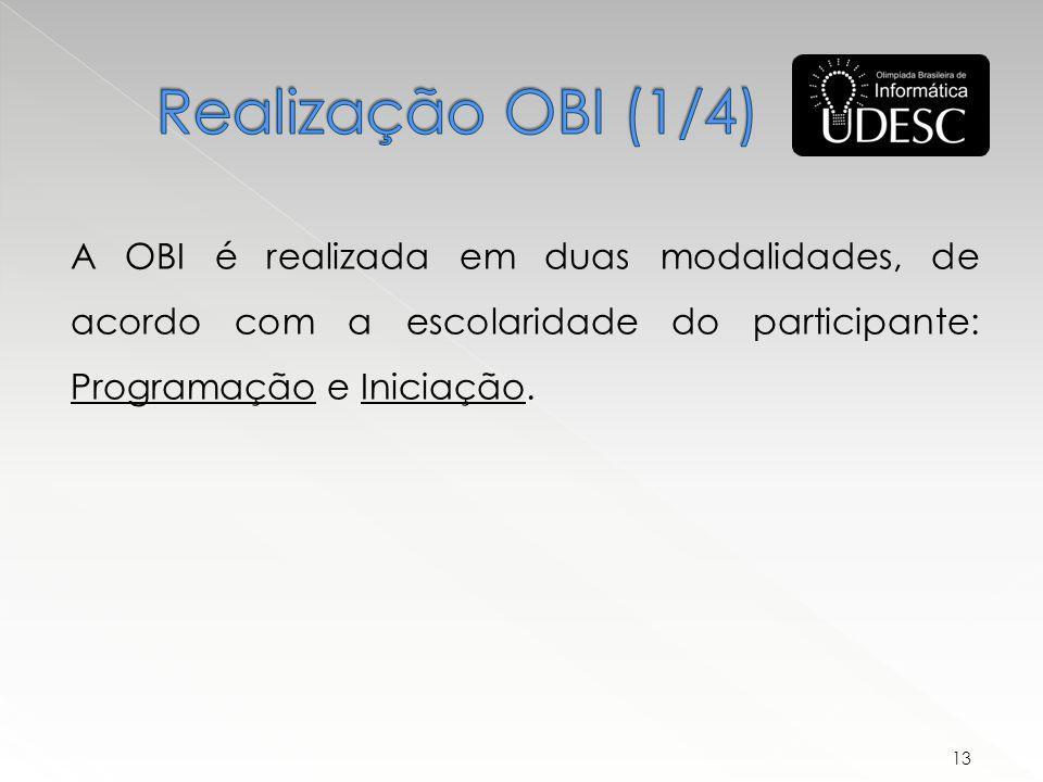 A OBI é realizada em duas modalidades, de acordo com a escolaridade do participante: Programação e Iniciação.