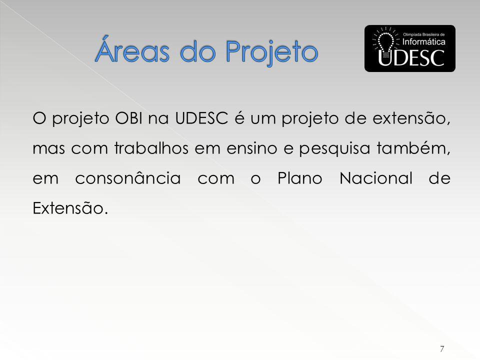 O projeto OBI na UDESC é um projeto de extensão, mas com trabalhos em ensino e pesquisa também, em consonância com o Plano Nacional de Extensão.