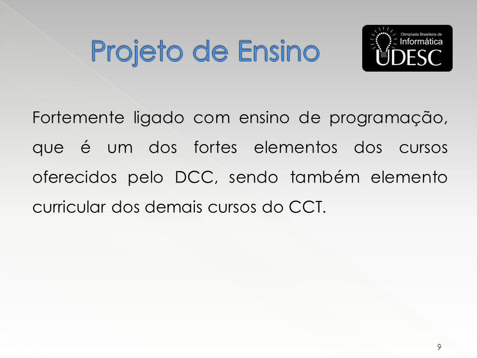 Fortemente ligado com ensino de programação, que é um dos fortes elementos dos cursos oferecidos pelo DCC, sendo também elemento curricular dos demais cursos do CCT.