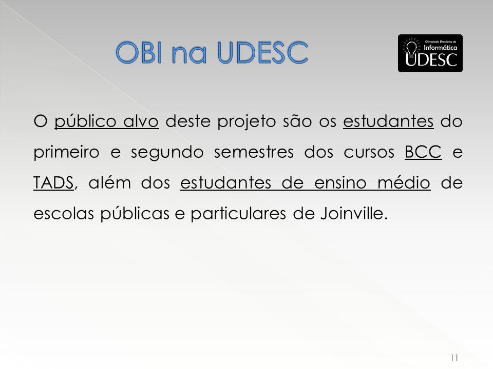 O público alvo deste projeto são os estudantes do primeiro e segundo semestres dos cursos BCC e TADS, além dos estudantes de ensino médio de escolas públicas e particulares de Joinville.