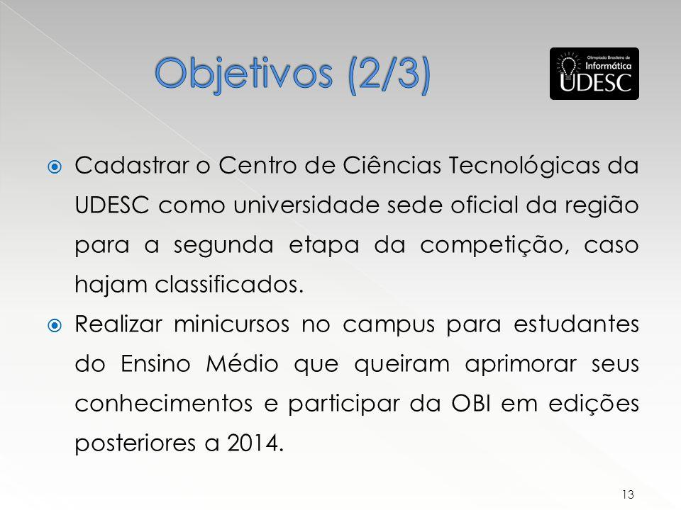 Cadastrar o Centro de Ciências Tecnológicas da UDESC como universidade sede oficial da região para a segunda etapa da competição, caso hajam classificados.