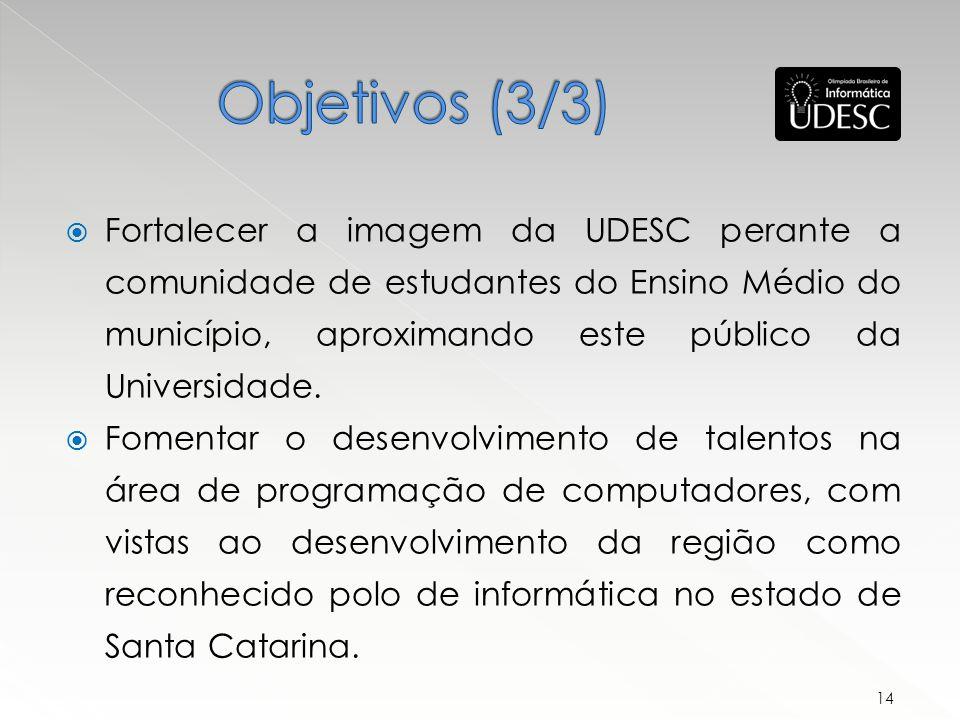 Fortalecer a imagem da UDESC perante a comunidade de estudantes do Ensino Médio do município, aproximando este público da Universidade.