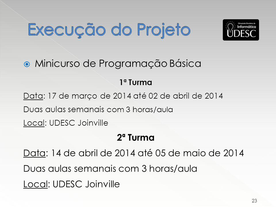 1ª Turma Data: 17 de março de 2014 até 02 de abril de 2014 Duas aulas semanais com 3 horas/aula Local: UDESC Joinville 2ª Turma Data: 14 de abril de 2014 até 05 de maio de 2014 Duas aulas semanais com 3 horas/aula Local: UDESC Joinville Minicurso de Programação Básica 23