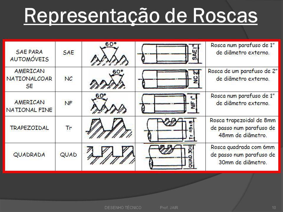 Representação de Roscas DESENHO TÉCNICO Prof. JAIR10