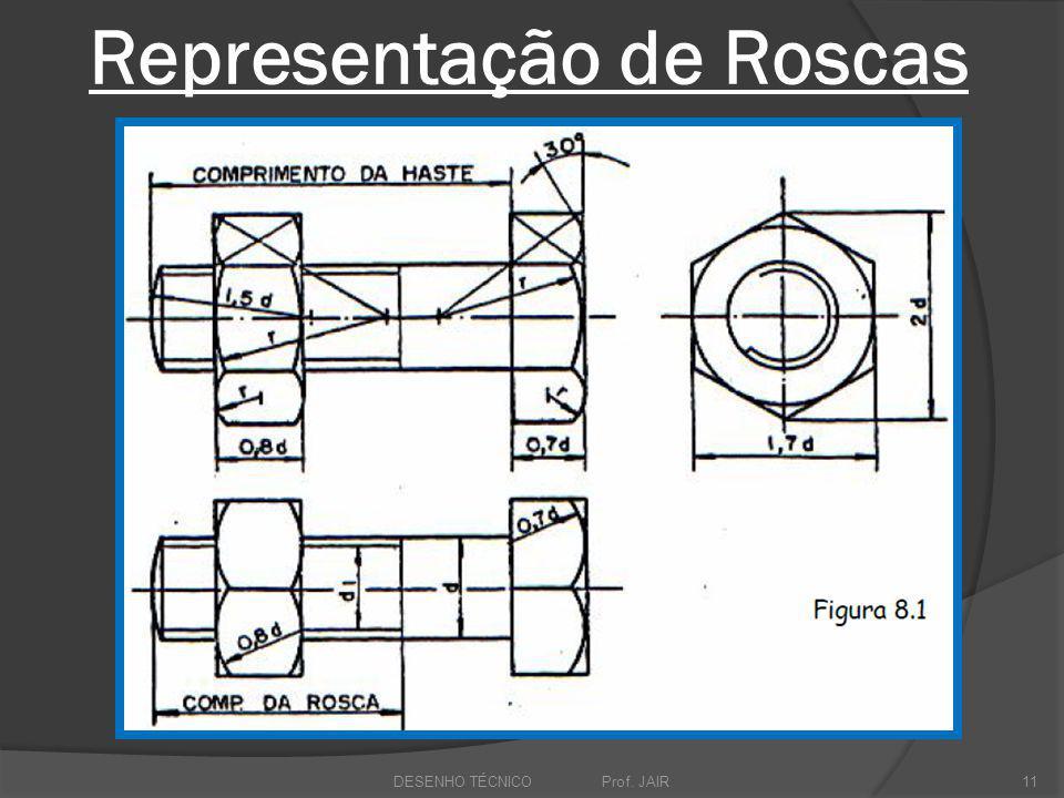 Representação de Roscas DESENHO TÉCNICO Prof. JAIR11