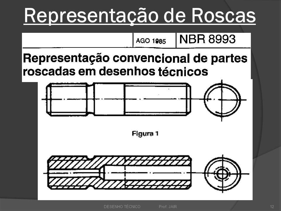 Representação de Roscas DESENHO TÉCNICO Prof. JAIR12