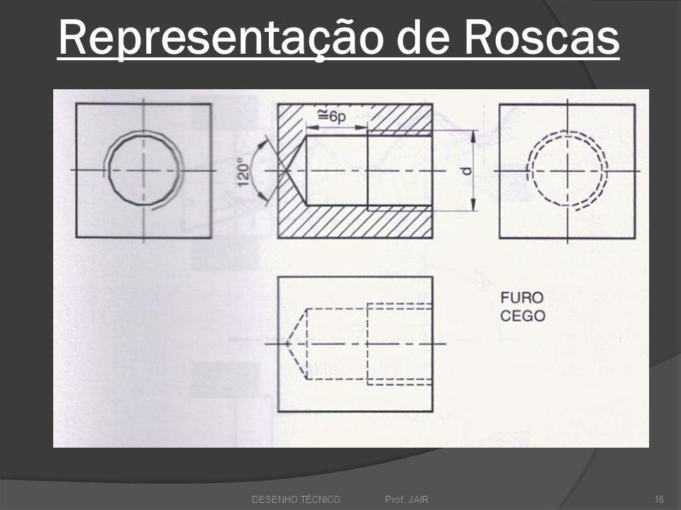 Representação de Roscas DESENHO TÉCNICO Prof. JAIR16