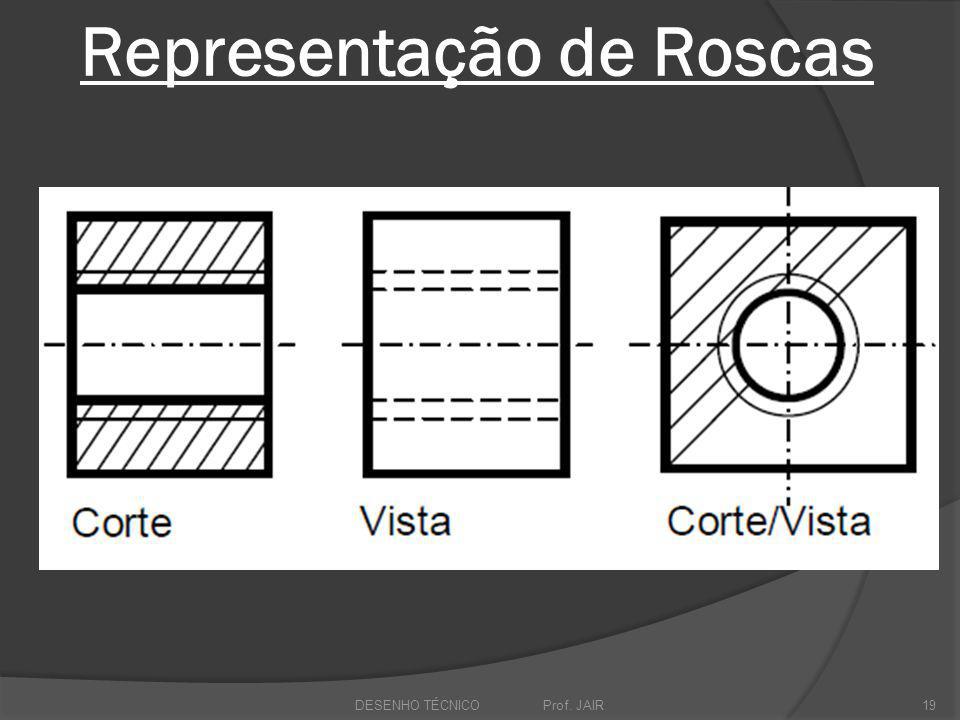 Representação de Roscas DESENHO TÉCNICO Prof. JAIR19