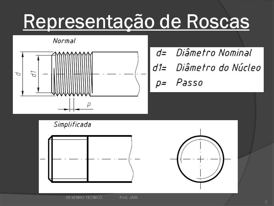 Representação de Roscas DESENHO TÉCNICO Prof. JAIR 2