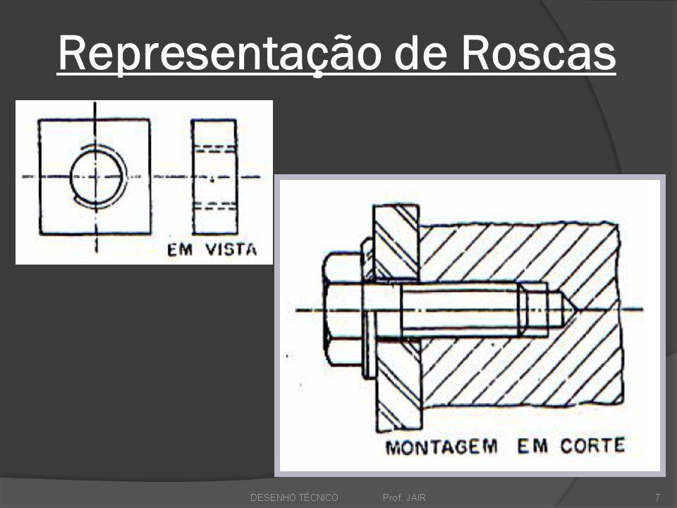 Representação de Roscas DESENHO TÉCNICO Prof. JAIR7