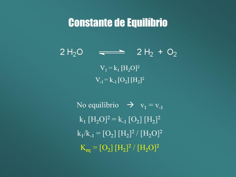 Constante de Equilíbrio V 1 = k 1 [H 2 O] 2 V -1 = k -1 [O 2 ] [H 2 ] 2 No equilíbrio v 1 = v -1 k 1 [H 2 O] 2 = k -1 [O 2 ] [H 2 ] 2 k 1 /k -1 = [O 2