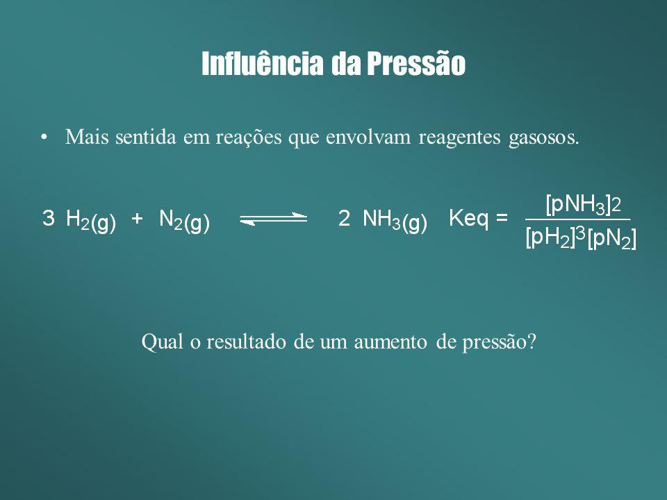 Influência da Pressão Mais sentida em reações que envolvam reagentes gasosos. Qual o resultado de um aumento de pressão?
